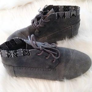Tom's Grey Suede Chukka Booties Size 8.5 Women's